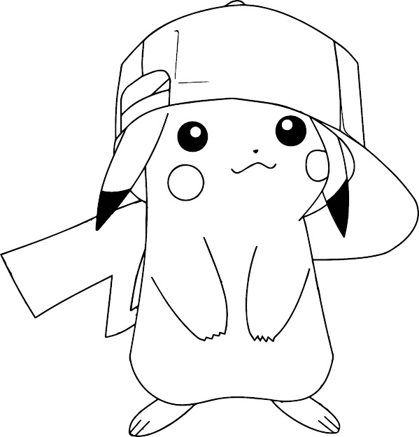 Pokemon Coloring Pages Pikachu Wearing Hat  Coloringstar