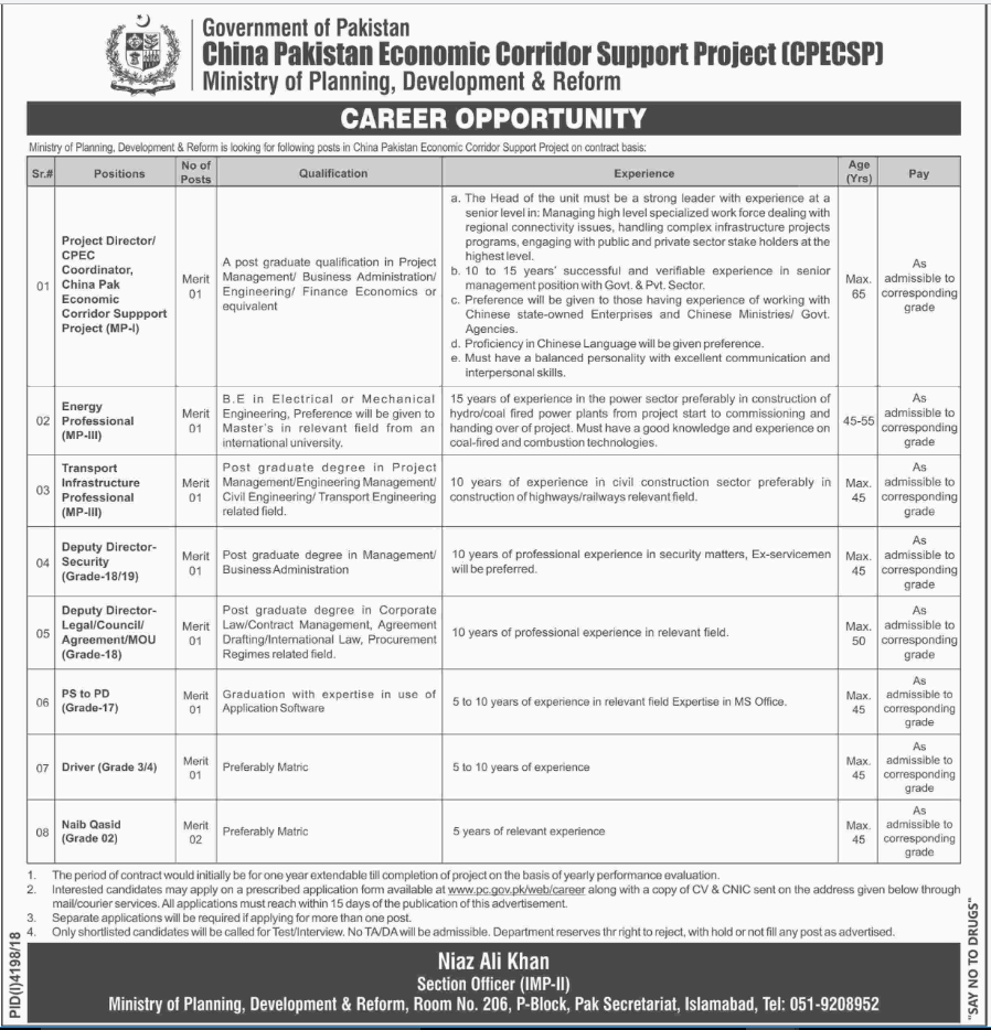 Advertisement for China Pakistan Economic Corridor Support Project Jobs 2019