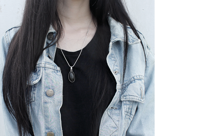 outfit, fashion, grunge, denim, stone necklace, lune, nocturne, blogger