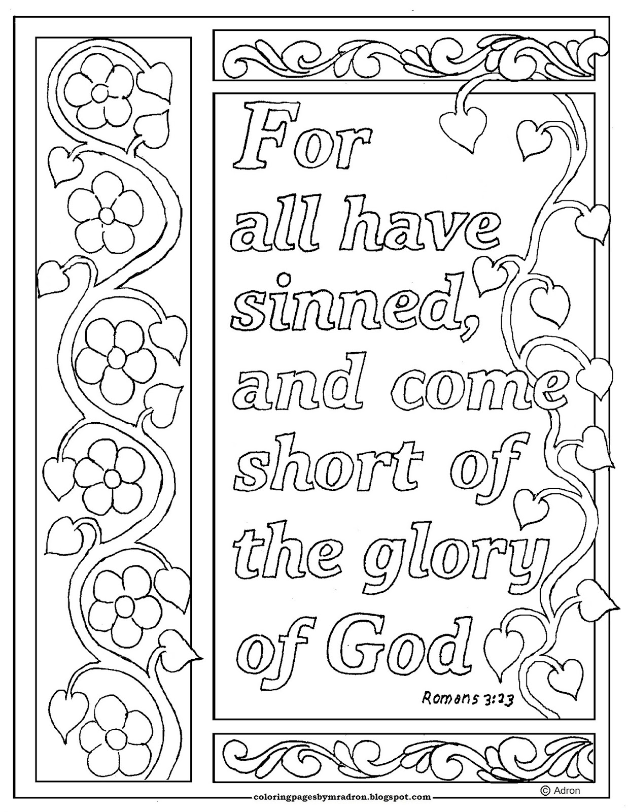 Coloring Pages For Kids By Mr Adron Romans 3 23 Print