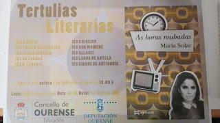 """Cartel de la Tertulia literaria """"As horas roubadas"""" de María Solar"""