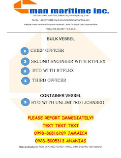 Updated hiring jobs for Filipino seaman join at bulk carrier ship join December 2018