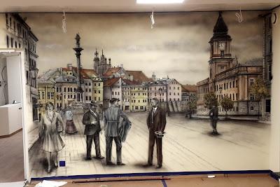 MAlowidło ścienne wykonane w salonie, obraz przedstawia Plac Zygmunta, malowidło ścienne o tematyce przedwojennej Warszawy