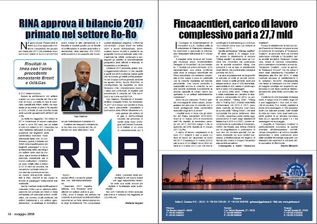 MAGGIO 2018 PAG 17 - Fincantieri, carico di lavoro complessivo pari a 27,7 mld