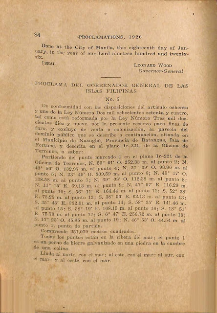 Proclamation No. 5 series of 1926 reserving Fortune Island for lighthouse use, Spanish version.