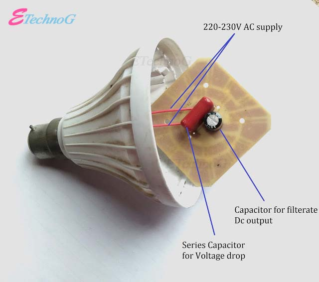 Inside a Modern LED bulb, Working of modern Led bulb  with transformer less power supply