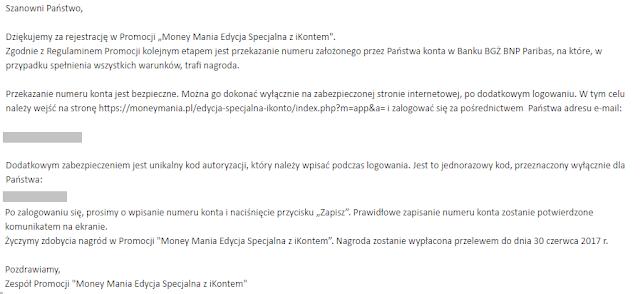 Mail do uczestników promocji Money mania edycja specjalna z iKontem w BGŻ BNP Paribas