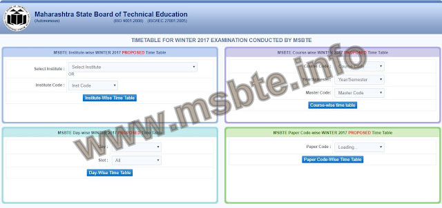 msbte winter time table 2017