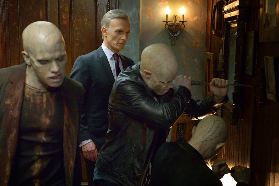 Richard Sammel as Thomas Eichorst the German Nazi strigoi vampire attacking Abraham Setrakian's pawn shop in FX The Strain Season 1 Episode 12 Last Rites