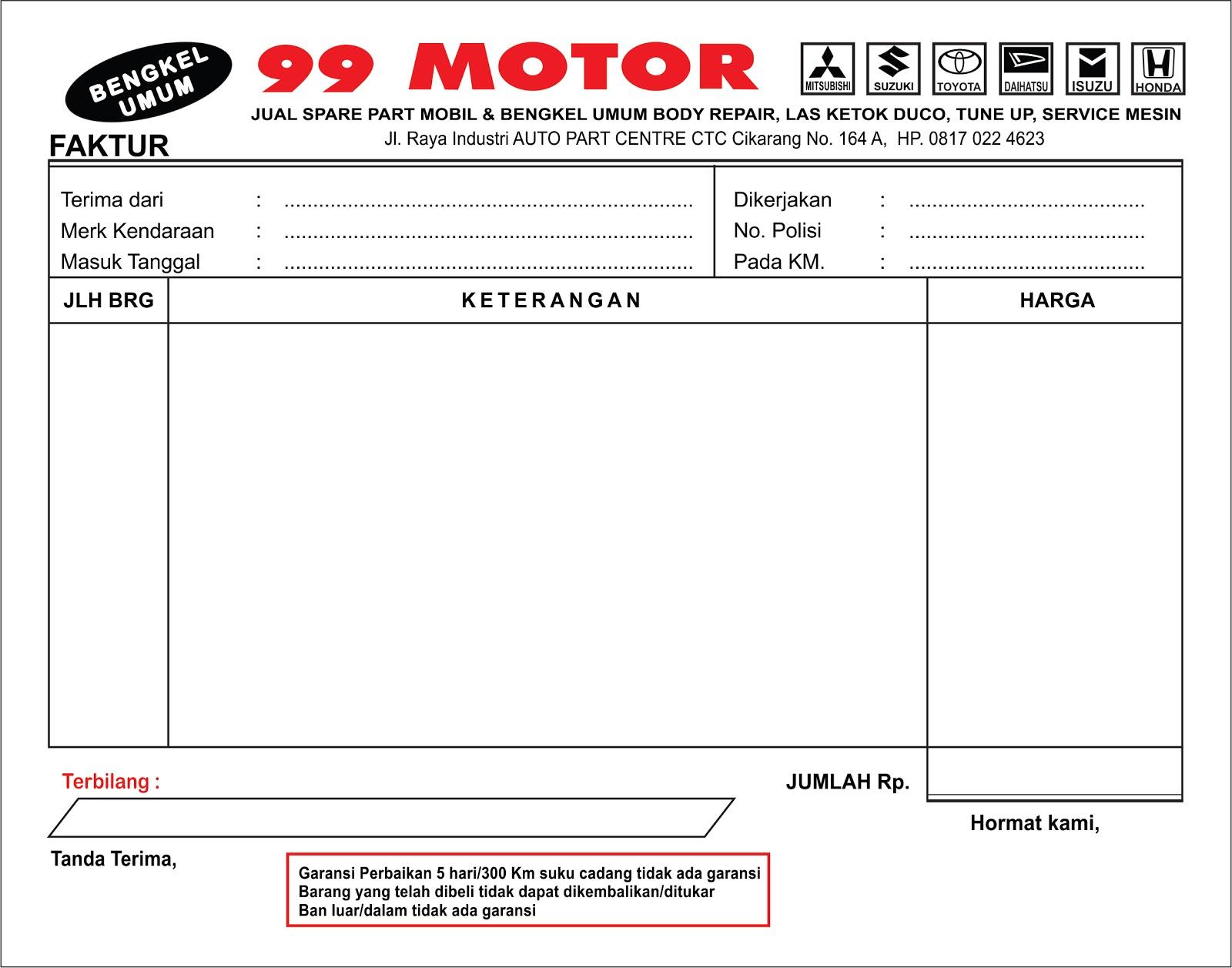 Nota Rental Mobil Excel Satu Manfaat