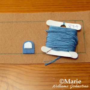 Sewing on the blue and white door
