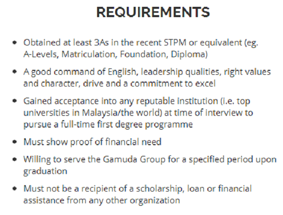 Gamuda scholarship requirements and amount