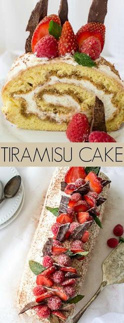 Berries Tiramisu Cake Roulade