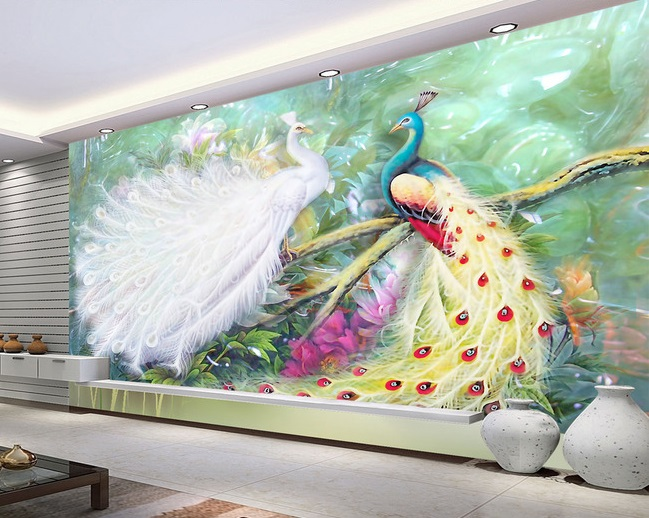 Tranh dán tường 3d chim công vợ chồng