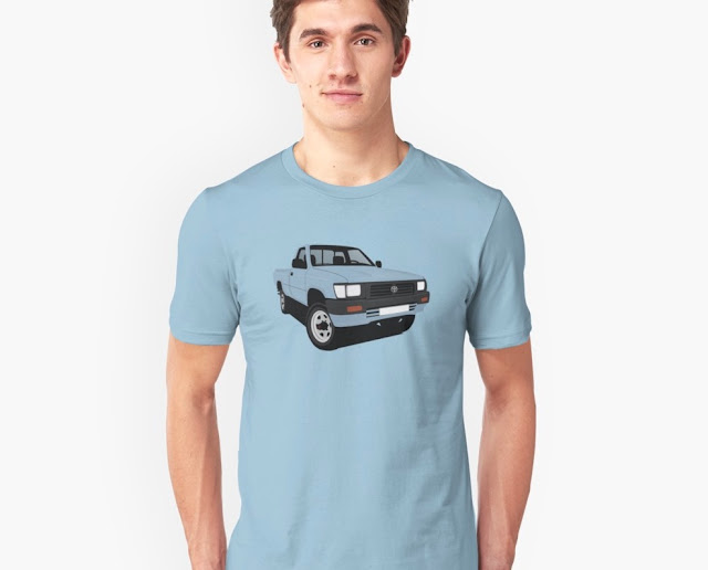 toyota hilux pickup truck light blue tshirt for guys