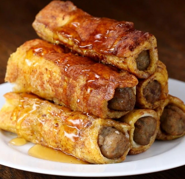 French Toast Sausage Roll-Ups #appetizers #breakfast