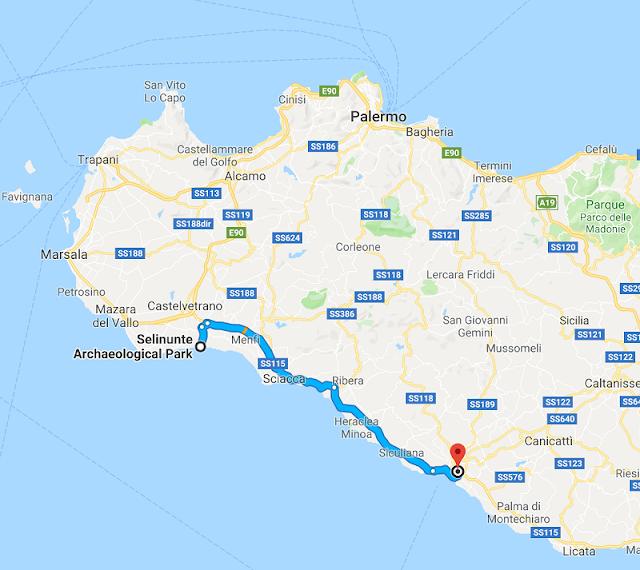 Trayecto desde Selinunte a Agrigento