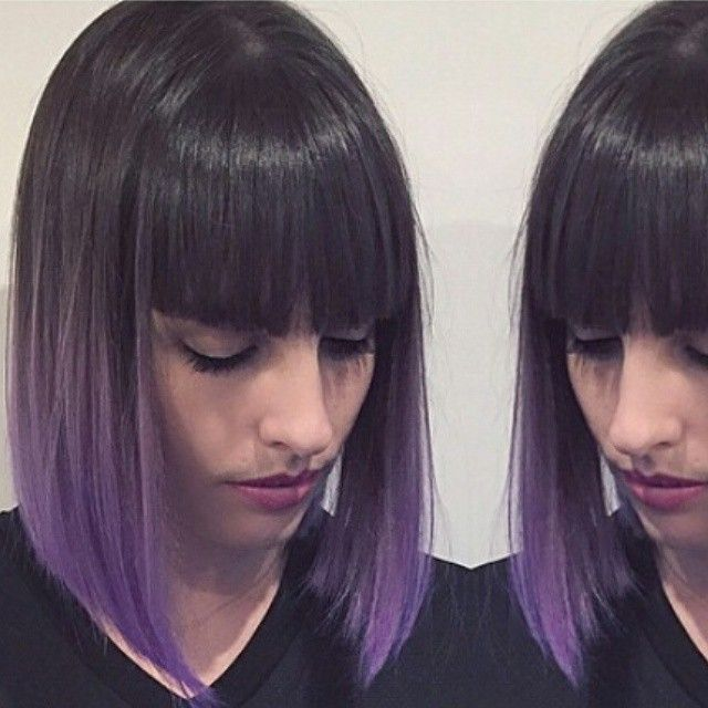Gorgeous Purple Ombre Hairstyles Short Dark Hair Style