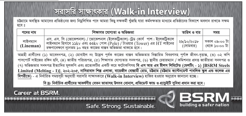 Bangladesh Steel Re-rolling Mills Limited (BSRM) Lineman Job Circular 2018