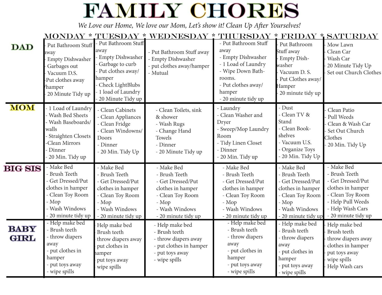 family chore calendar kelsie lou