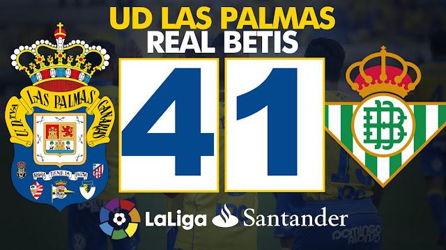 Marcador UD Las Palmas 4 Real Betis Balompié 1