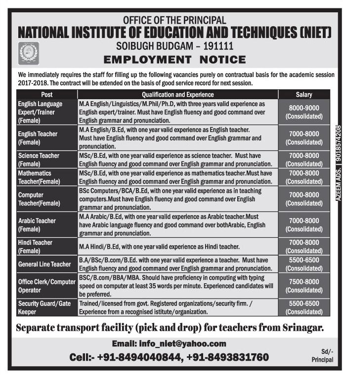 NIET Budgam has teaching & non-teaching job vacancies