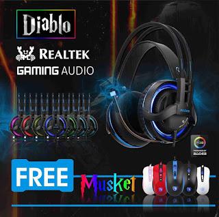 Sades Diablo Gaming Headset dengan Realtech 7.1 Gaming Audio