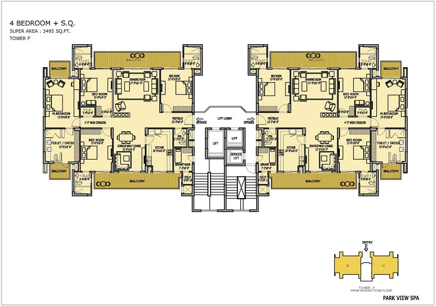 Floor Plan of Ready to Move 4 BHK + SR / 3495 Sq.Ft. Luxury Apartments in Bestech ParkView Spa, Sector-47, Gurgaon