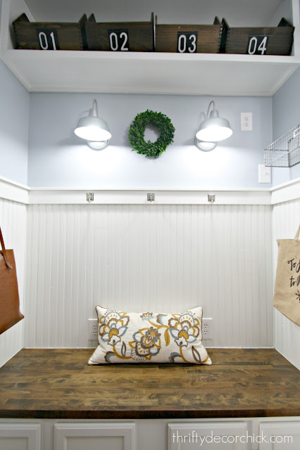 Light mudroom with wood accents