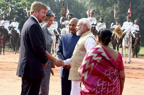 Queen Maxima wore Natan lace dress. President Ram Nath Kovind and First Lady Savita Kovind. Prime Minister Narendra Modi