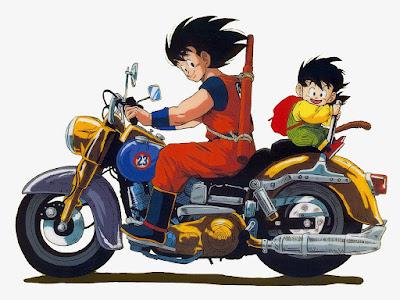 Gambar Animasi Bergerak Dragon Ball Songoku Gohan Naik Motor