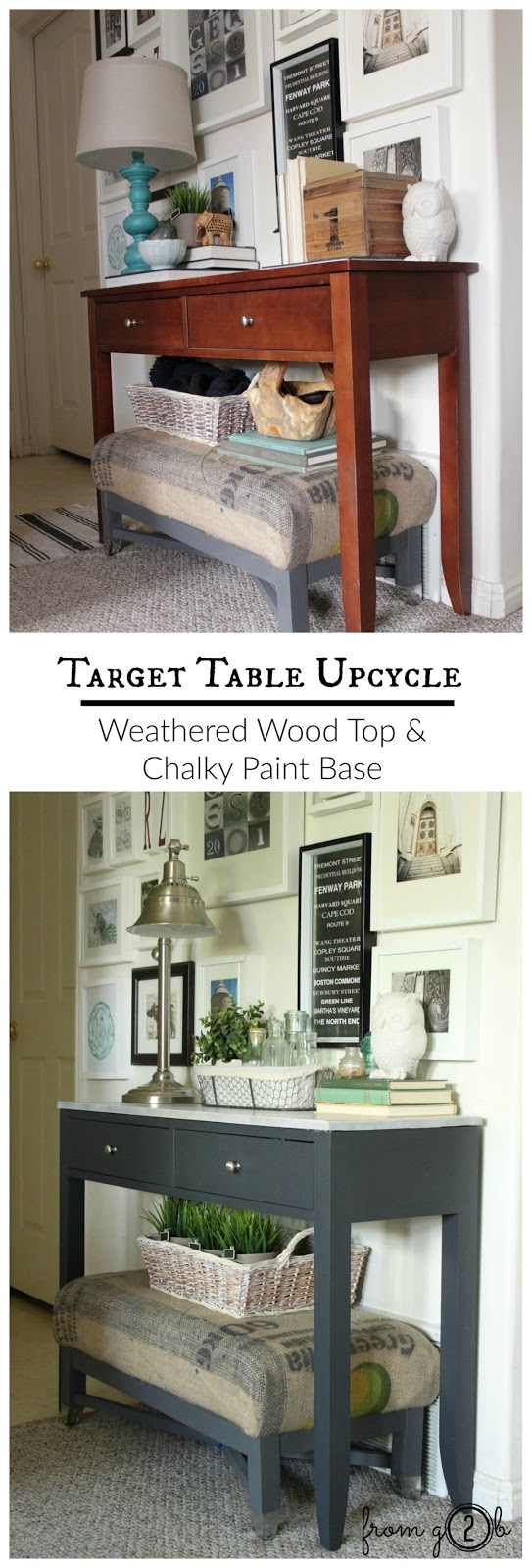 #Target Table Upcycle: Weatherwood Maple Top, #MissMustardSeed White Wax and Custom #Chalky Painted Base