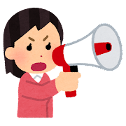 拡声器で話す女性のイラスト(真剣)