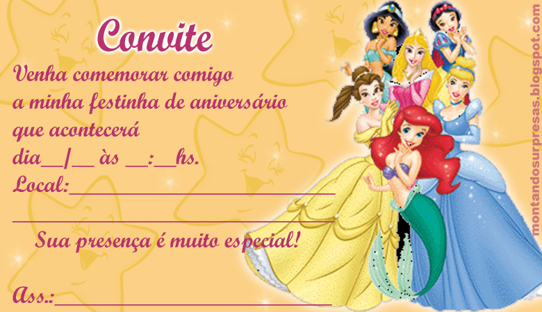 Surpresa E Arte Convite Princesas Disney Lindo Gratuito Para