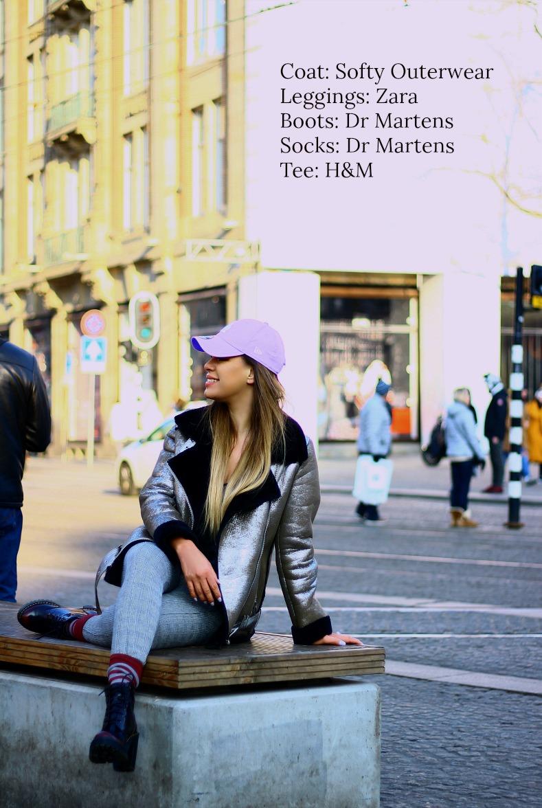 Metallic shearling coat, Lavender baseball cap, Ultra violet, Dr. Martens Persephne Arcadia boots, Zara laid leggings, Amsterdam, Dam square