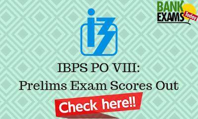 IBPS PO VIII: Prelims Scores Out
