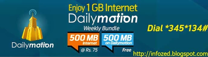 Telenor DailyMotion Internet Bundle Offer for 1GB Internet Data