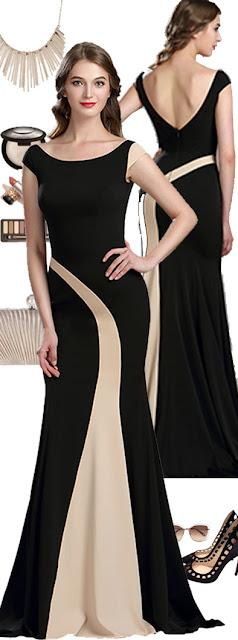 Robe de Soirée Elastique Noire et Champagne Chic