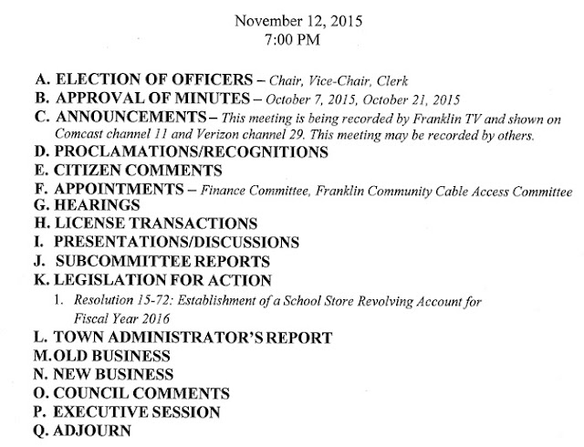 Town Council Agenda for Nov 12