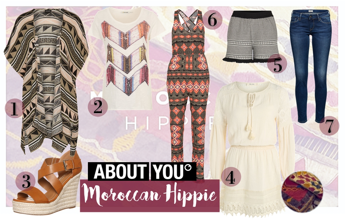 Morocca Hippie - Boho Style Fashion Items Collage