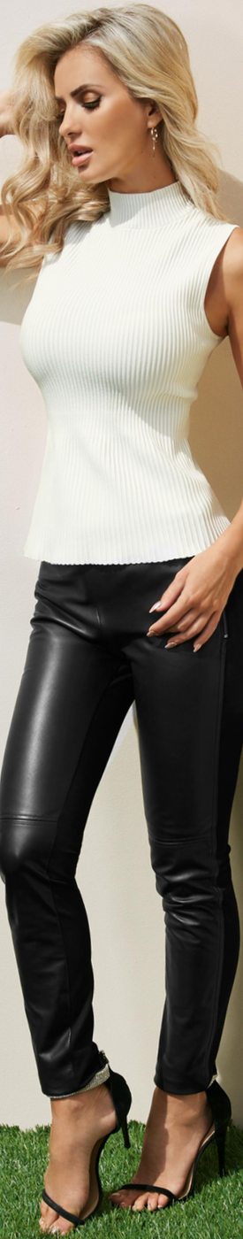 GUESS BLACK COY LEATHER LEGGINGS