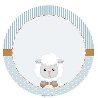 Baby Lamb in Light Blue Toppers or Free Printable Candy Bar Labels.