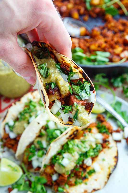 Chorizo and Potato Tacos with Avocado Salsa Verde