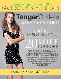 Tanger Outlet coupons for march 2017