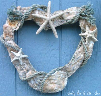 handmade oyster shell heart
