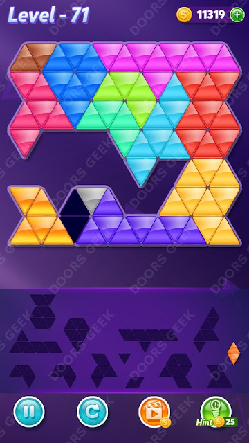Block! Triangle Puzzle Champion Level 71 Solution, Cheats, Walkthrough for Android, iPhone, iPad and iPod