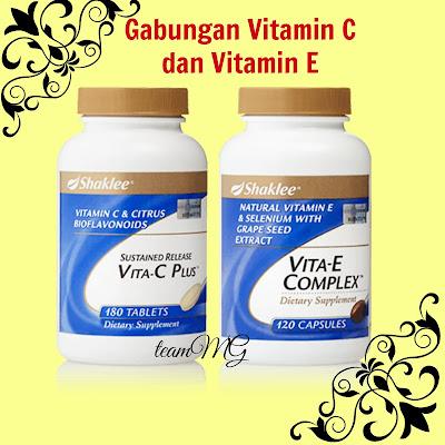 Manfaat Gabungan Vitamin C dan Vitamin E   Membantu mencukupkan keperluan harian vitamin C dan vitamin E. Meningkatkan dan memelihara daya tahan tubuh daripada berbagai serangan penyakit. Mempercepat pemulihan. Membantu meningkatkan kualiti sperma. Perlindungan dan mengoptimumkan kesihatan jantung dan pembuluh darah.