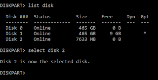 Diskpart select disk screenshot