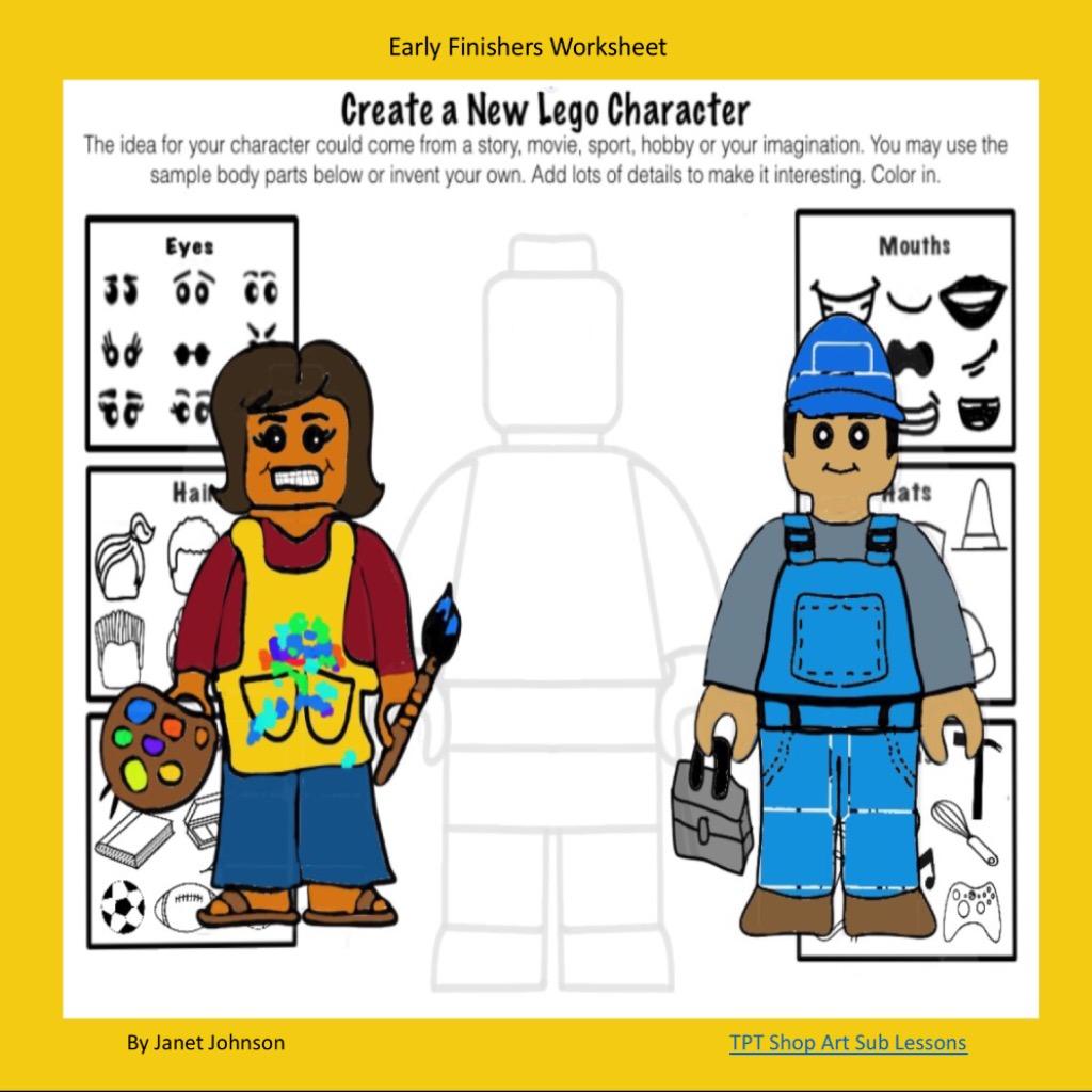 Art Sub Lessons Early Finishers Art Worksheet