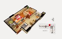 Thiết kế căn 13 tòa A chung cư Gemek Tower